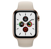 Apple Watch Series 5 Aluminiumgehäuse gold 44mm mit Sportarmband stein (GPS + Cellular) Smartwatches verkaufen